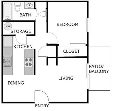 1 bed, 1 bath floor plan